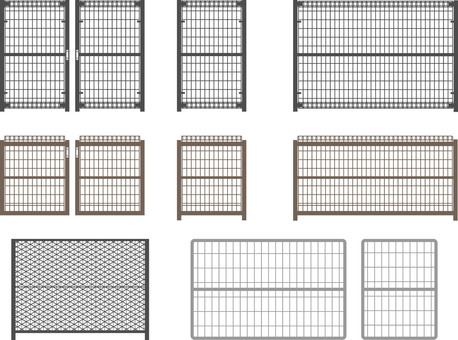 Several wire mesh fences 2