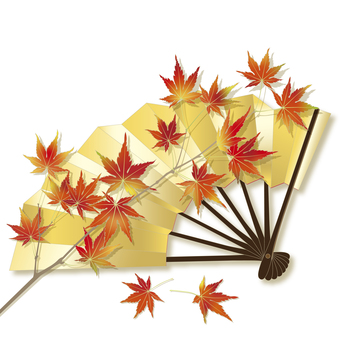 Fold autumn leaves on a gilt fan