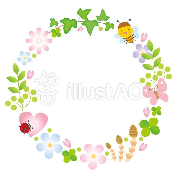 春の花と昆虫の輪イラスト No 709741無料イラストならイラストac