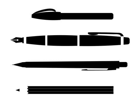 Fountain pen pen sharpener pencil silhouette