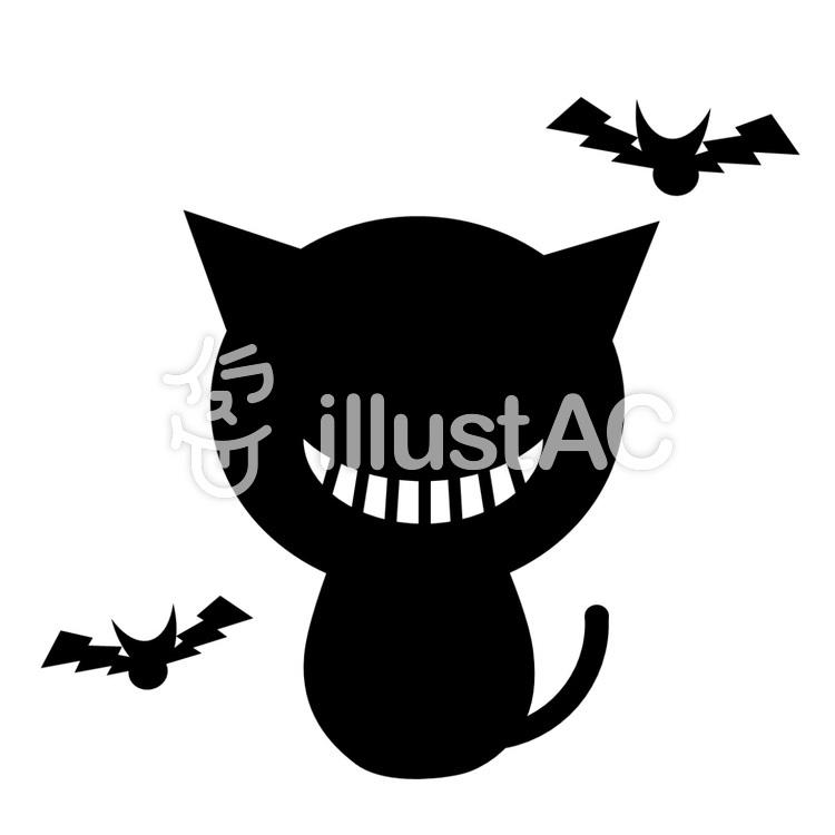 ハロウィン 猫とコウモリ2のイラスト
