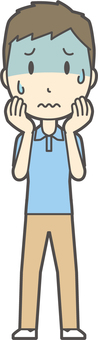 Blue polo shirt male -180 - whole body