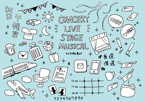 Hand-drawn material for live concerts and stage performances