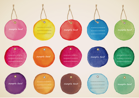 Watercolor round tag frame