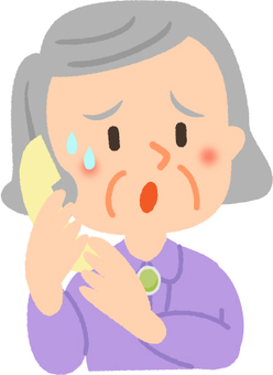 Embarrassed face grandmother on phone