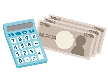 計算器和紙幣