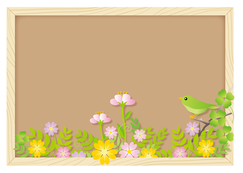 Cork board of flowers and small birds
