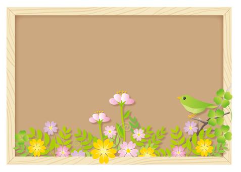 꽃과 새를 코르크 보드