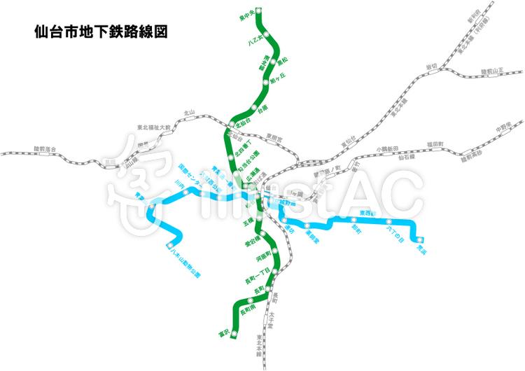 仙台市地下鉄 路線図イラスト No 999464無料イラストならイラストac