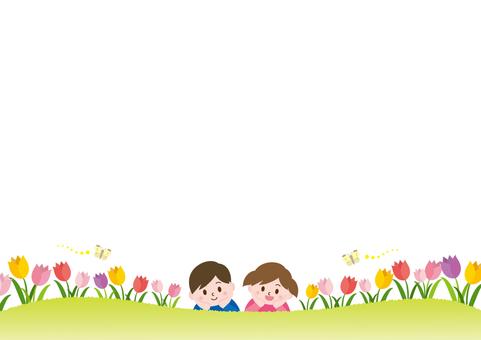 チューリップ畑と子供たち_C02
