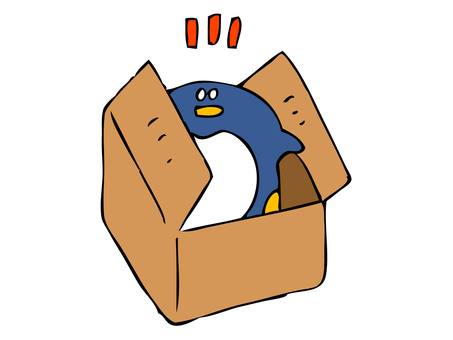 Penguin coming out of cardboard