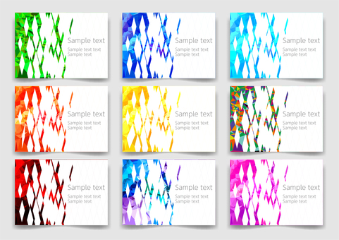 Colorful polygon frame background material set