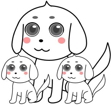 狗的父母和孩子白色