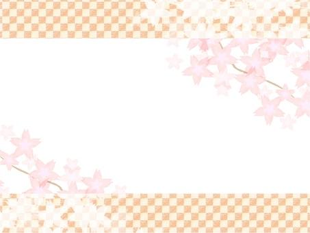 桜のフレーム-市松模様