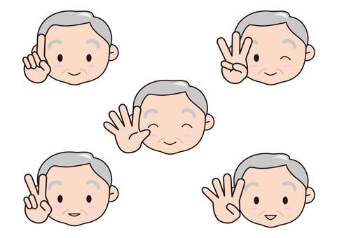 Old man with fingers 1 to 5