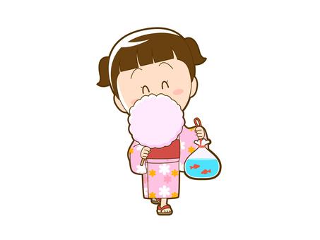 Summer _ Girl in Yukata Eating Cotton Candy_012