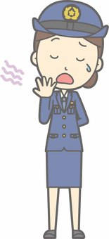 Police officer woman a - Yawning - whole body