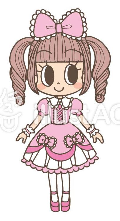 ピンクロリータファッション乙女イラスト No 374126無料イラスト