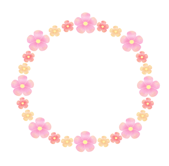 Pink flowers round frame