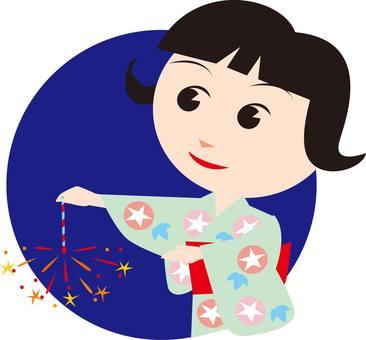 Fireworks, Yukata, Women, Girls