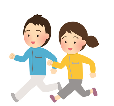 Men and women jogging illustration