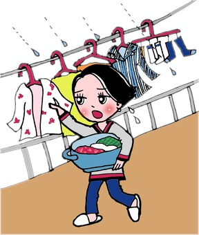 Woman who takes in laundry by rain