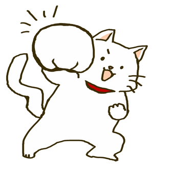 White cat that pounds cat punch