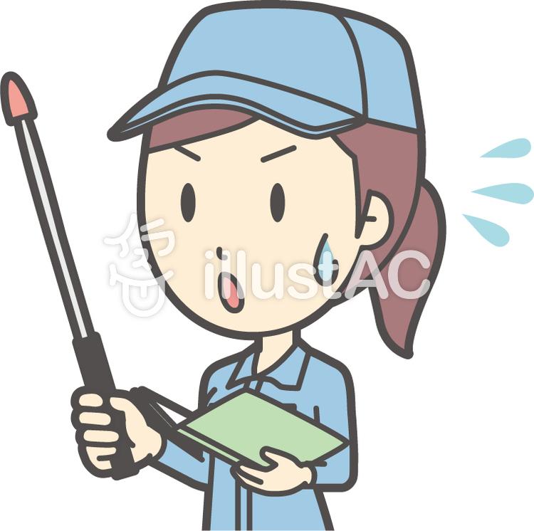 作業員女性ブルー-219-バストのイラスト