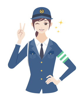 Police officer (female) Peace sign