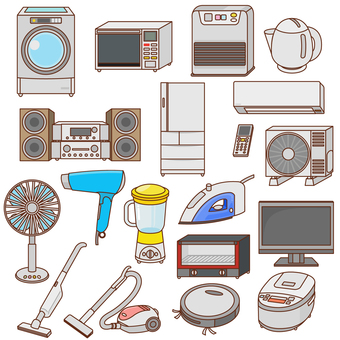 Assorted household appliances set