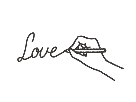 Hand and letter Love