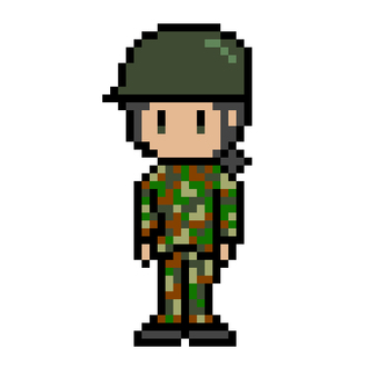 Pixel picture of a female self-defense officer in camouflage clothing