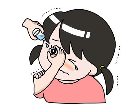 Girl giving eye drops