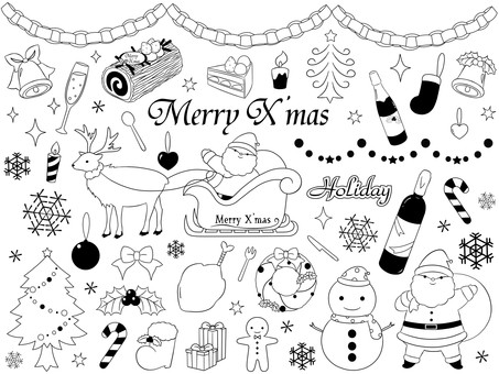 Christmas material Black and White