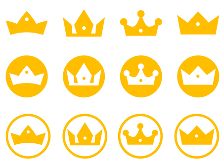 Simple crown icon set