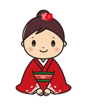 Seiza greeting woman illustration in kimono