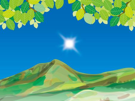 陽光和季節(11)夏季清新的綠色和山脈