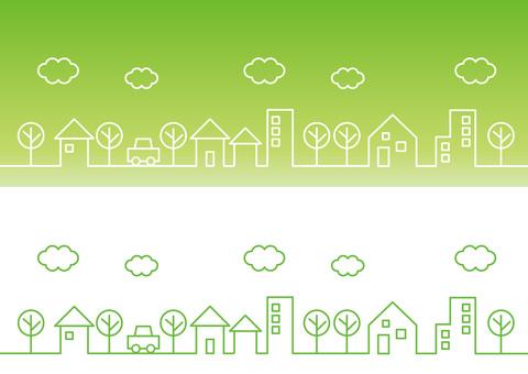 Cityscape simple line green