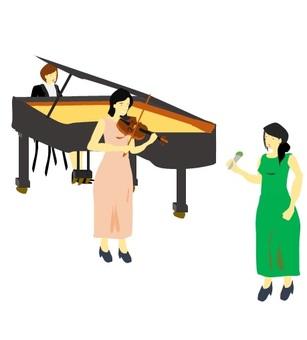 피아노와 바이올린 연주에 노래 여자