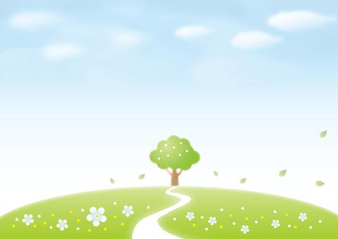 푸른 하늘과 초록의 언덕