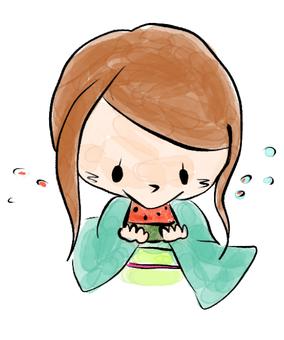 Woman eating water