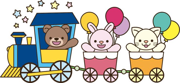 汽車に乗る動物たち
