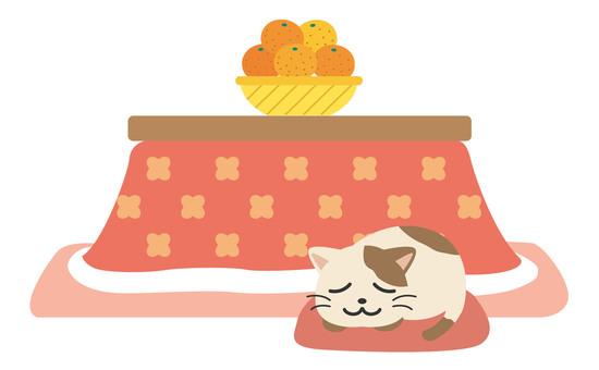 Winter kotatsu cat illustration