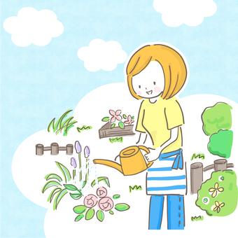 庭でガーデニングする女性