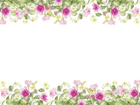 Flower frame 227 - Deep rose color flower frame
