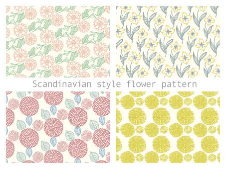 Scandinavian style floral pattern set.02