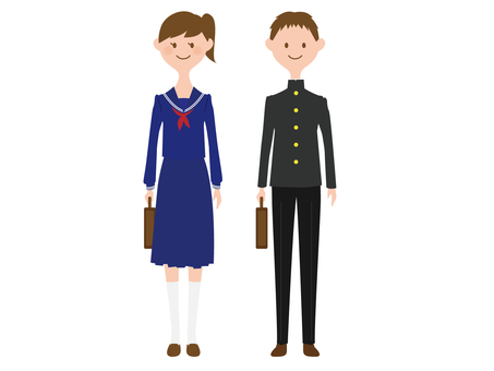 Men and women wearing student clothes
