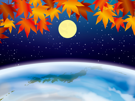 Four season images of the earth (3) Moon and Autumn leaves of autumn