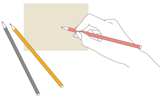Simple hand holding a pencil