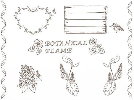 植物と鳥・蝶のフレーム(単色)